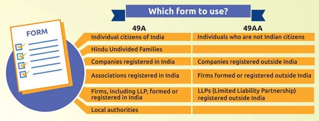 form 49aa indian income tax online